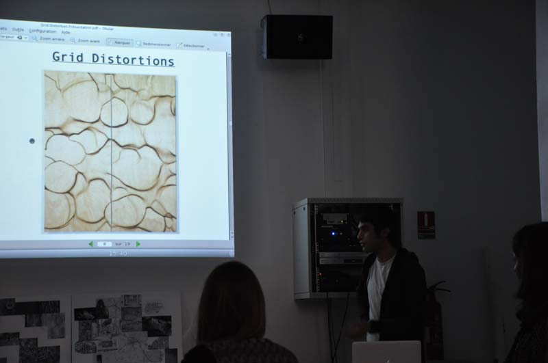 Présentation des projets par les étudiants au service des publics du FRAC Centre (Gilles Rion et Lucy Hofbauer), le 19 décembre 2012